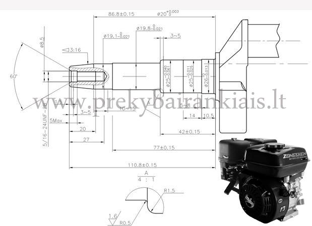Variklis ZONGSHEN 168FB generatoriams